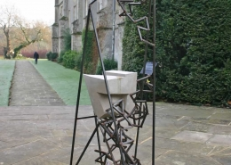 Triangulum at Mottisfont Abbey (abstract sculpture) by sculptor Ian Campbell-Briggs